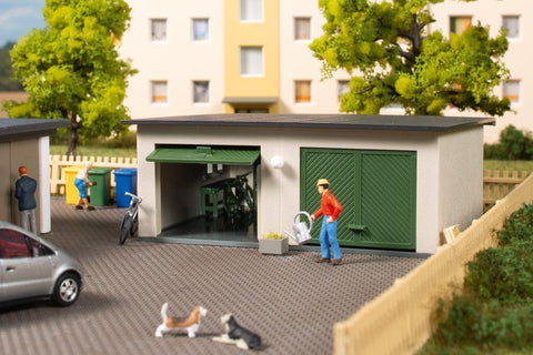 Auhagen 11456 HO Gauge Double Garage Plastic Kit