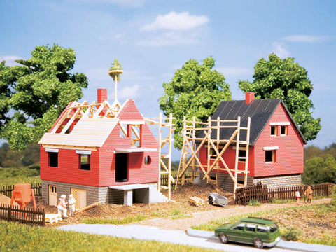 Auhagen 12215 HO Gauge 2 Houses Under Construction Plastic Kit