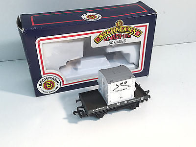 Bachmann 33-953 OO Gauge 1 Plank Wagon with Small Container LMS