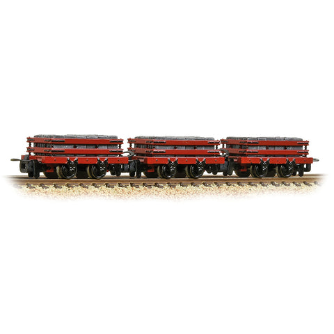 Bachmann 393-076 OO-9 Gauge 3 Pack Red Slate Wagons w Loads