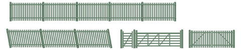 Ratio 430 OO Gauge Station Fencing/Ramps/Gates (Green)