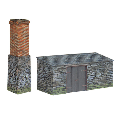 Bachmann 44-0106 OO-9 Gauge Slate Built Boiler House and Chimney