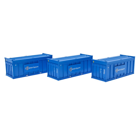 Accurascale 2256GYPb OO Gauge Gypsum 20' Blue Containers (Pack 3)