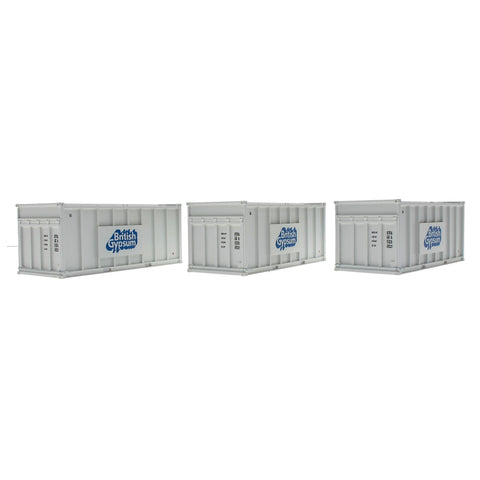 Accurascale 2255GYPw OO Gauge Gypsum 20' White Containers (Pack 3)