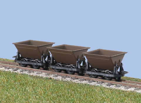 Peco GR-330 OO-9 Gauge Hudson Rugga V Skip Wagon Set of 3 (Brown)