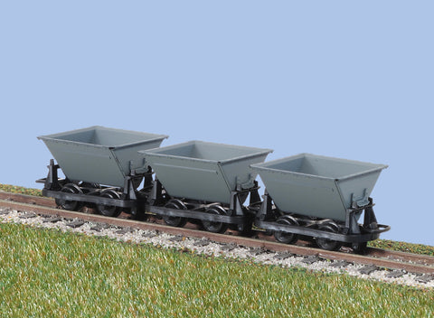Peco GR-331 OO-9 Gauge Hudson Rugga V Skip Wagon Set of 3 (Grey)