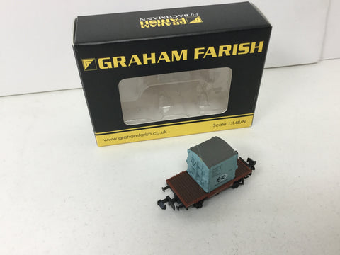 Graham Farish 377-326B N Gauge BR Conflat A Wagon Ice Blue Container