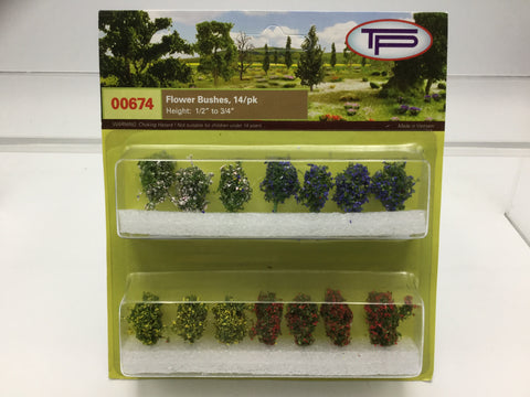 Tasma Products 00674 OO/HO Gauge Flowering Bushes (Pack 14)