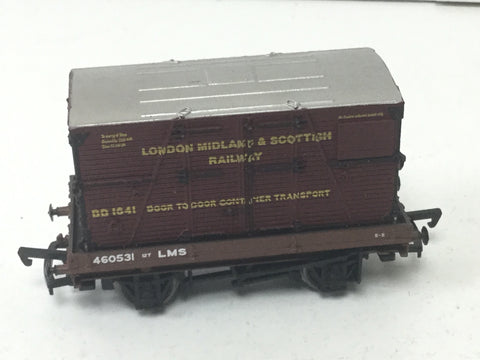 Bachmann 33-404 OO Gauge LMS 1 Plank Wagon w Container