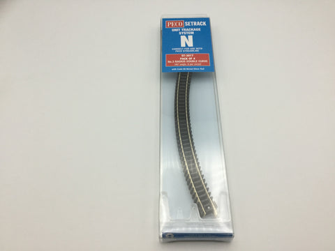 Peco ST-3017 N Gauge Pack of 4 ST-17 3rd Radius Double Curve Track