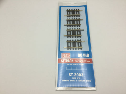 Peco ST-2003 OO Gauge Pack of 4 ST-203 Special Short Straight Track