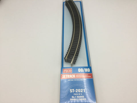 Peco ST-2021 OO Gauge Pack of 4 ST-221 1st Radius Double Curve Track