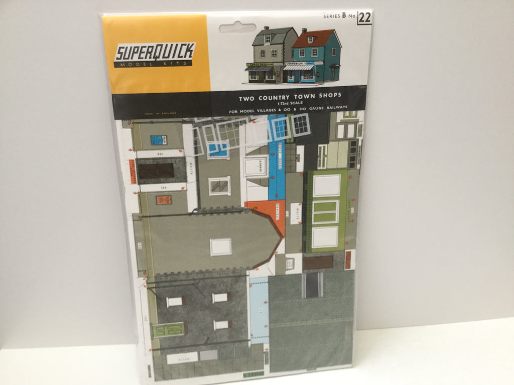 Superquick B22 OO Gauge Two Country Town Shops Card Kit