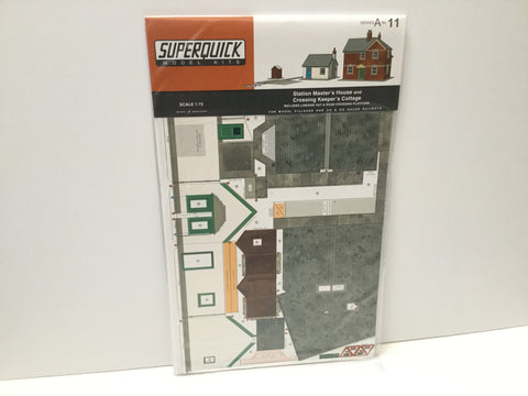 Superquick A11 OO Gauge Stations Masters House & Crossing Keepers Cottage Card Kit