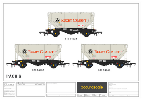 Accurascale 2026RG-G OO Gauge Rugby Cement PCA Wagon Triple Pack G