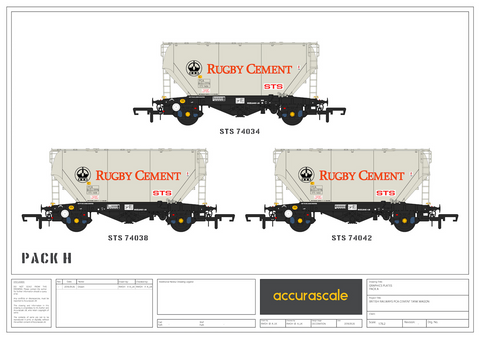 Accurascale 2027RG-H OO Gauge Rugby Cement PCA Wagon Triple Pack H