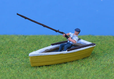 P&D Marsh PDZ33 OO Gauge Whitemetal Painted Man Fishing in Rowboat