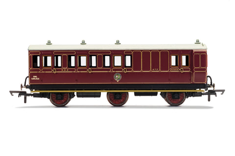 Hornby R40093 OO Gauge NBR, 6 Wheel Coach, Unclassed (Brake 3rd) Coach, 472 - Era 2