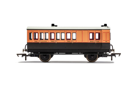 Hornby R40110 OO Gauge LSWR, 4 Wheel Coach, Brake 3rd Class, Fitted Lights, 179 - Era 2