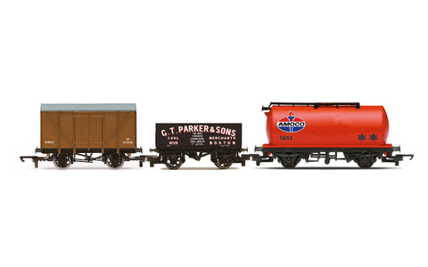 Hornby R60048 OO Gauge Tripple Wagon Pack, Mixed Wagons with Box Van - Era 3