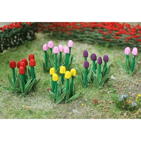 Tasma Products 00675 OO/HO Gauge Tulips (Red/Pink/Yellow) 44 Flowers