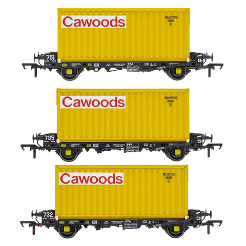 Accurascale 2087CWDS OO Gauge PFA Cawoods Container Wagon Set S (Pack 3)