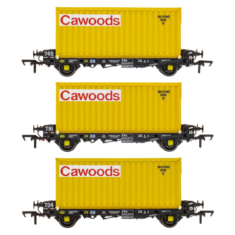 Accurascale 2088CWDT OO Gauge PFA Cawoods Container Wagon Set T (Pack 3)