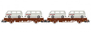 Rivarossi HR6458 HO Gauge DB Kls Flat Wagon Set w/Load (2) IV