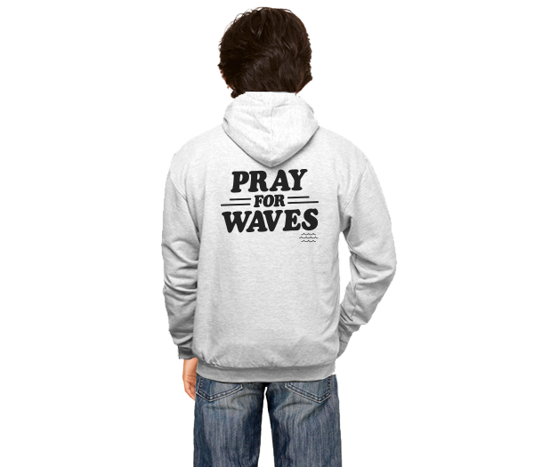 Pray for Waves - Unisex Kids Zippered Hooded Sweatshirt