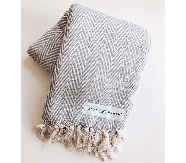 Bora Bora Blanket - Medium Grey & Cream