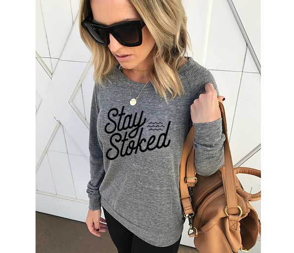 Stay Stoked- L/S Slouchy Pullover