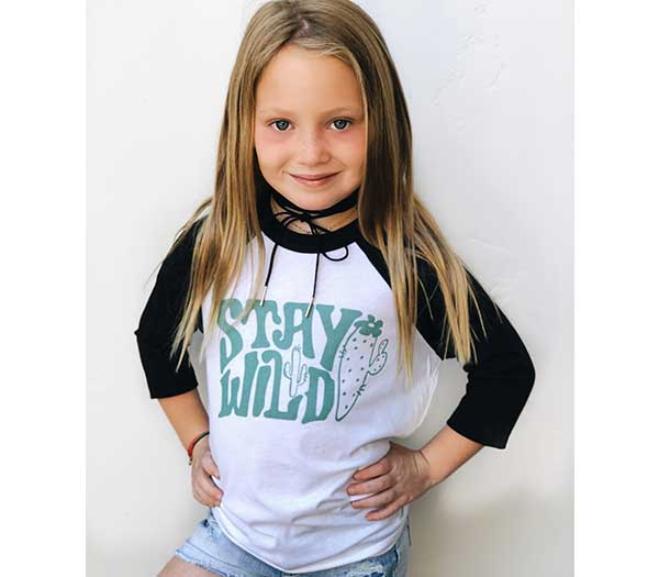Stay Wild Girls & Toddler Baseball Tee