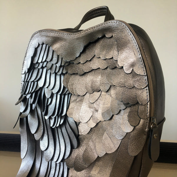 Silver Leather Backpack Silver Leather Wings Backpack