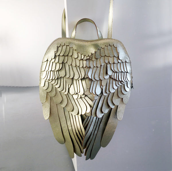 Gold Leather Backpack Gold Leather Wings Backpack Unique Designer Bag