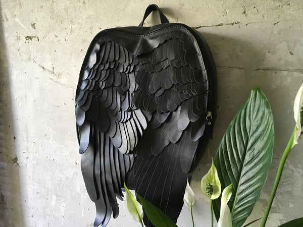 Black Leather Backpack Unusual Backpack Black Wings Backpack