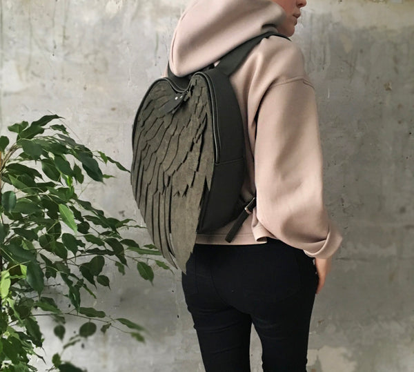 Rose Gold Leather Backpack Lotus Wings Backpack Leather Wing Bag Rose Gold Angel's Wings Unusual Backpack