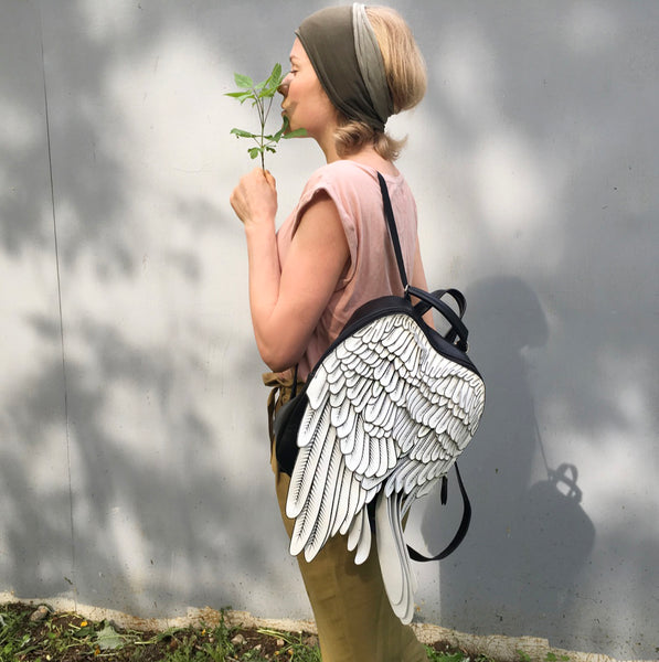 White Leather Backpack Printed Leather Wings Backpack Unusual Woman Backpack