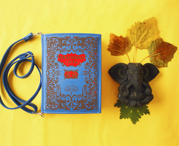 Blue Leather Handbag Book Clutch Bhagavad Gita Book Bag