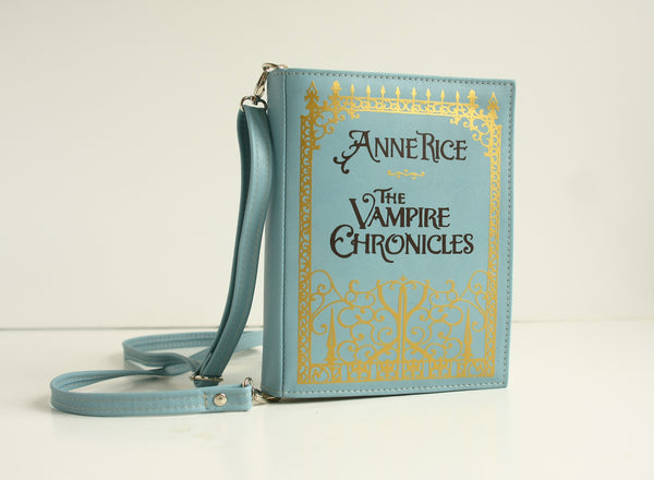 Blue Leather Handbag Book Clutch Anne Rice The Vampire Chronicles Book Bag