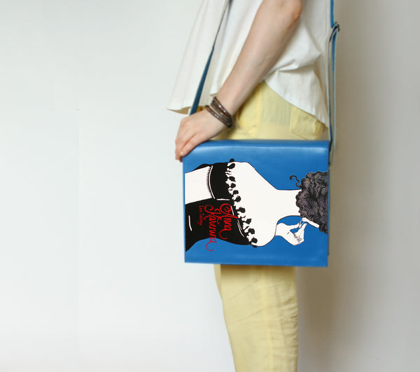 Blue Leather Shoulder Bag Anna Karenina Book Clutch