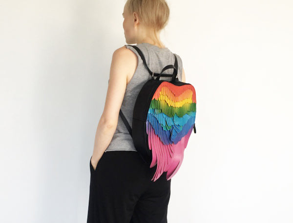 Scarlet Macaw Backpack Leather Backpack Rainbow Wings Backpack