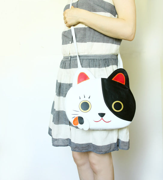 White and Black Bag Cute Cat Leather Purse