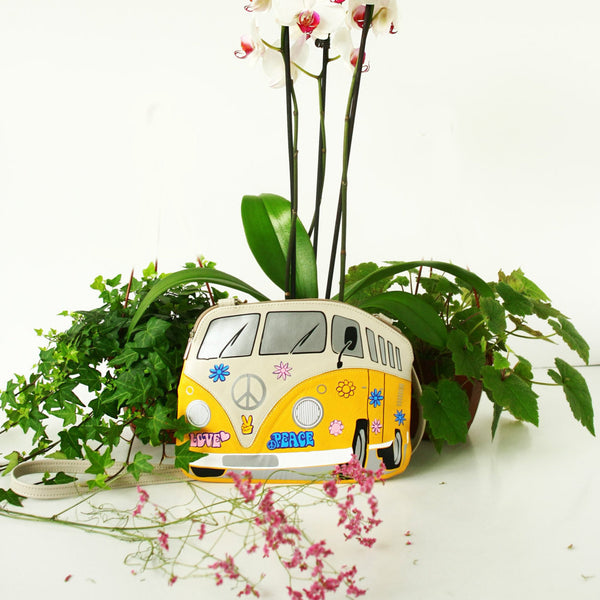 Small Hippie Volkswagen Bag Flower Print Leather VW Purse