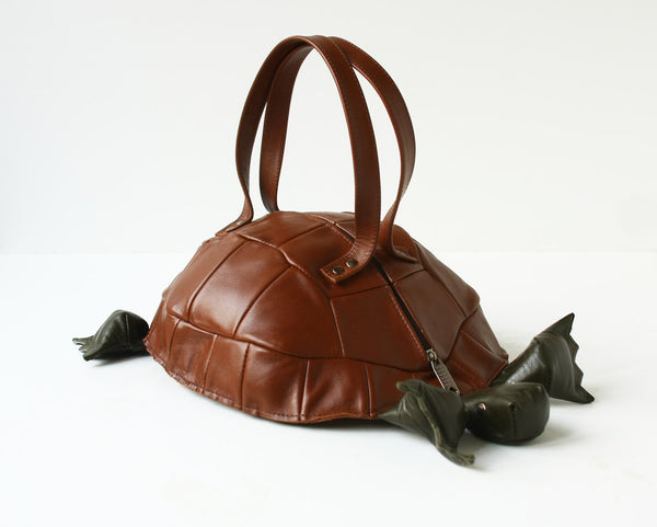 Turtle Bag Brown Leather Purse