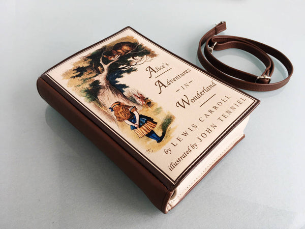 Leather Book Clutch Alice in Wonderland Book Bag