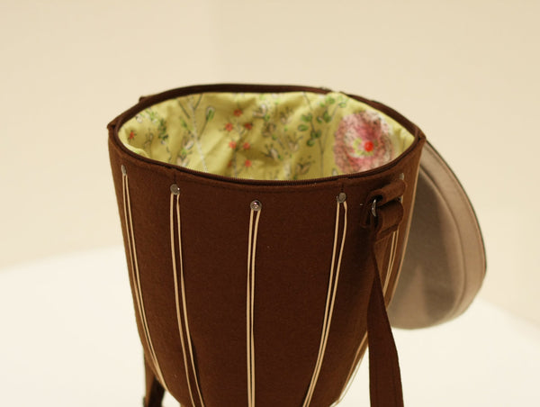 Djembe Drum Purse Crossbody Bag Music Brown Felt Bag