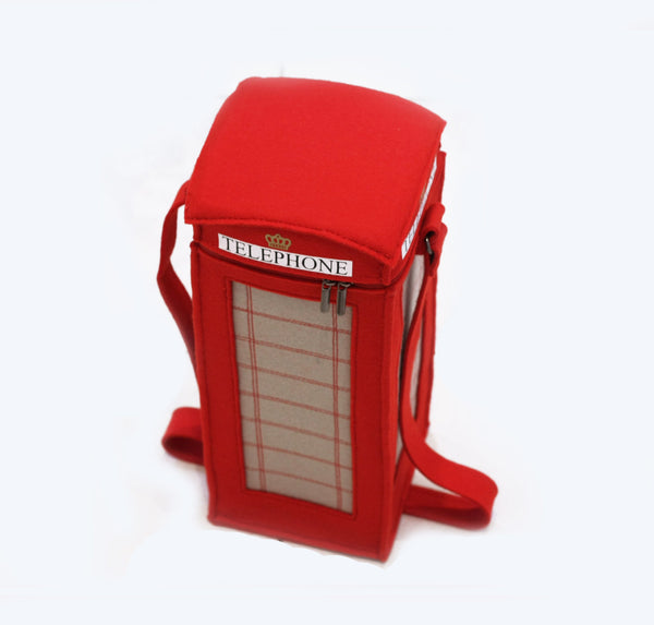 London Red Telephone Booth Felt Bag