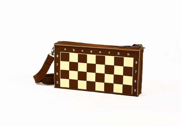 Chess Bag Chess Purse Chess Board Game Brown Felt Bag