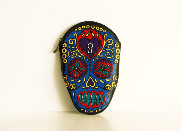 Sugar Scull  Tattoo Pouch Leather Pouch