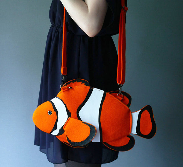 Clown Fish Purse Fish Felt Bag Clown Fish Bag